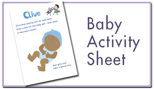 Baby activity sheet button